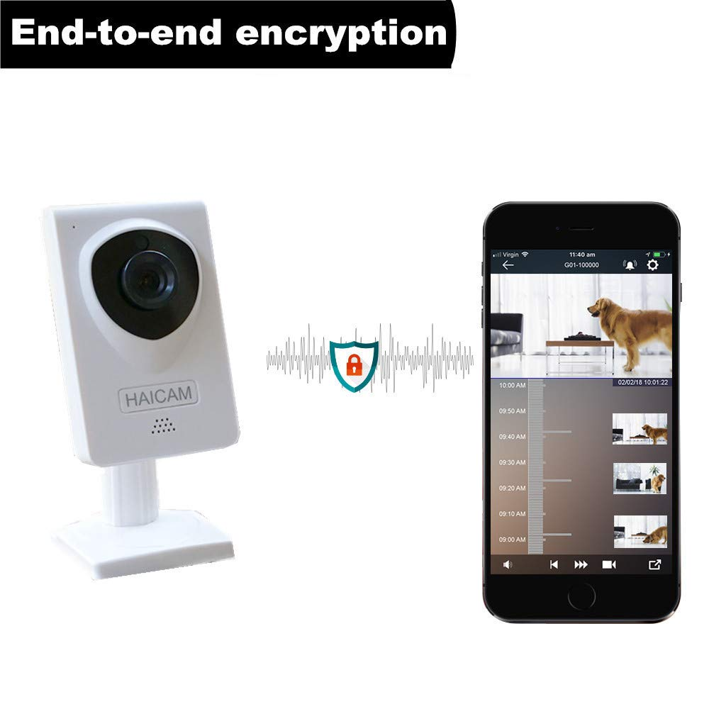 Haicam E21 End-to-end Encryption (E2EE) IP Security Camera, 2 Years Free Cloud Recording, Play Time-Lapse Video History in iOS/Android/Windows/Mac/TV Apps, Regular, White