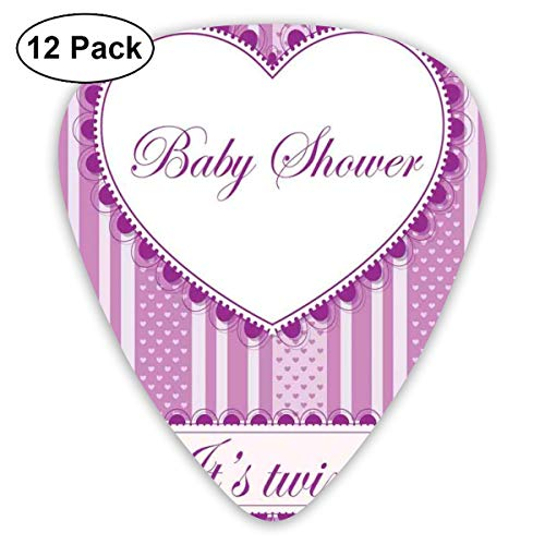 Guitar Picks 12-Pack,Vertical Hearts And Stripes Pattern Its Twins Message On Scales Line Victorian ()