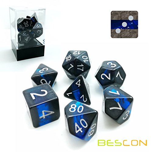 Bescon Mineral Rocks GEM Vines Polyhedral D&D Dice Set of 7, RPG Role Playing Game Dice 7pcs Set of Sapphire ()