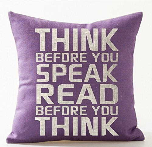 Linen Cotton Club - Book Lover Book Club Librarian Reading Funny Sayings Think Before You Speak Read Before You Think Cotton Linen Throw Pillow Case Cushion Cover NEW Home Office Indoor Decorative Square 18 X 18 Inches