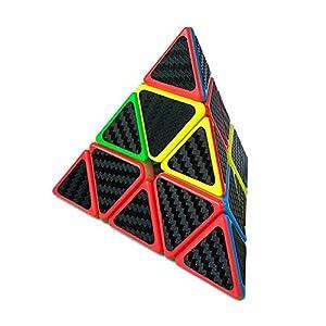 HJXD Magic Cube Set of 3 Pack Include Meganminx+Skewb+Pyraminx Carbon Fiber Sticker Puzzle cube Black