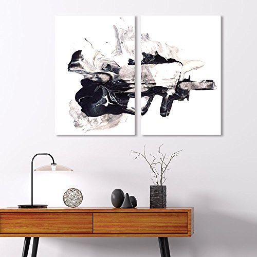 2 Panel Abstract Ink Splash on White Background x 2 Panels …