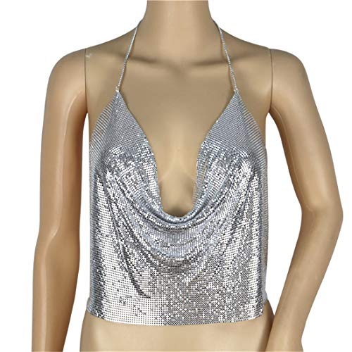 4c98094cd2a Kuji Women Metal Sequin Sparkle Glitter Tank Deep V Neck Spaghetti Strap  Backless Halter Tops (Silver)
