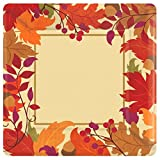"""Festive Fall Metallic Disposable Paper Dinner Plates Autumn Party Tableware, Square, 10.5"""", Pack of 18."""