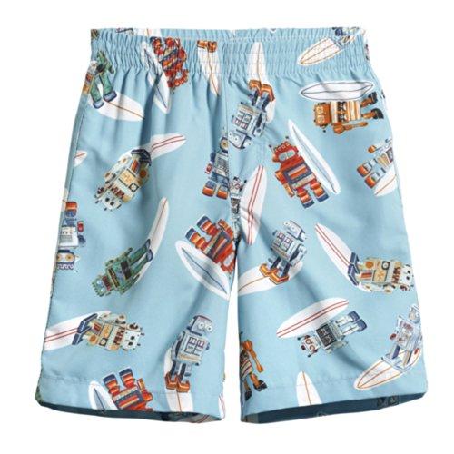 City Threads Little Boys' Swimsuit Swim Trunks Shorts, Robot Surf, ()