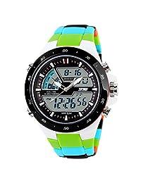 ufengke® fashion waterproof diving sports watch for men,boys children alarm luminous wrist watch,white case green band