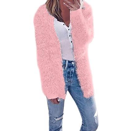 FuweiEncore Suéter de Punto Abrigos Mujer Cardigans Otoño Invierno Cardigan de Manga Larga Chaqueta de Invierno
