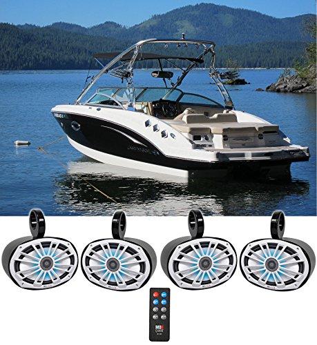 (4) MB Quart NK1-169L 6x9 560w Marine Boat Wakeboard Tower Speakers w/LED'S