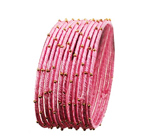 Touchstone New Silk Thread Bangle Collection Indian Bollywood Handcrafted Faux Silk Thread Exotic Look Golden Beads Blush Pink Designer Bangle Bracelets Set of 12 for Women.