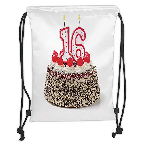 - New Fashion Gym Drawstring Backpacks Bags,16th Birthday Decorations,Delicious Cake with Burning Candle and Cherry Yummy Dessert Image,Multicolor Soft Satin,Adjustable String Closu