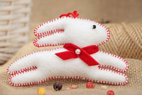 Handmade White Decorative Toy Rabbit Sewn Of Felt With Eyelet Interior Decoration