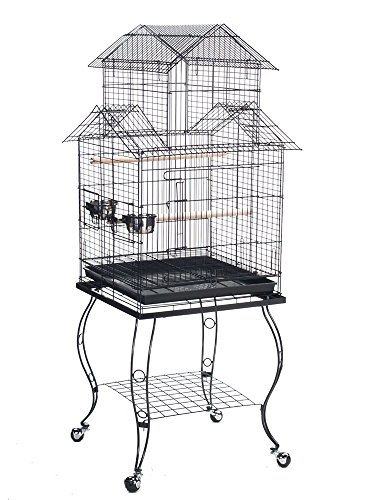 Bird Parrot Cage with Stand Cockatiel Amazon African Grey Caique Conure, 20 X 20 X 57 1/2