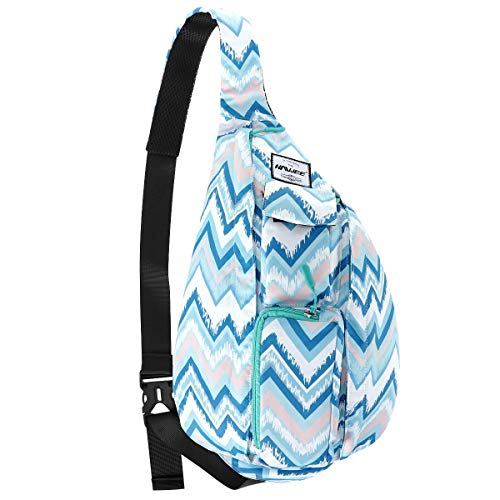 HAWEE Base Camp Bag Hiking Backpack Chest Sling Bag Sports Travel Crossbody Daypack for Women, Light Blue Ripples