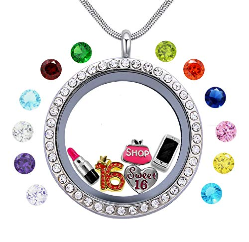 beffy Best Girl's Birthday Gift, Sweet Sixteen 16 Floating Living Memory Locket Charms, 12PCS Birthstones Necklace