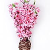 Artificial Spring Peach Blossom Cherry Plum Bouquet Branch Silk Flower