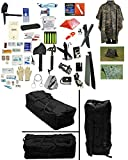4 Person Supply 5 Day Emergency Bug Out SOS Food Rations, Drinking Water, LifeStraw Personal Filter, First Aid Kit, Tent, Blanket, Duffel Bag, Woodland Poncho + Essential 21 Piece Survival Gear Set