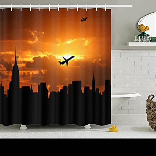 Shower Curtains Planes Departing Midtown Manhattan Sunset Illustration New York Jets 72Wx72L Inches Home Decorative Waterproof Polyester Fabric Bathroom Decor Bath ()
