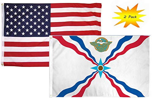 (ALBATROS 3 ft x 5 ft 3x5 Set (2 Pack) USA American with Assyrian Country Flag Banner for Home and Parades, Official Party, All Weather Indoors)