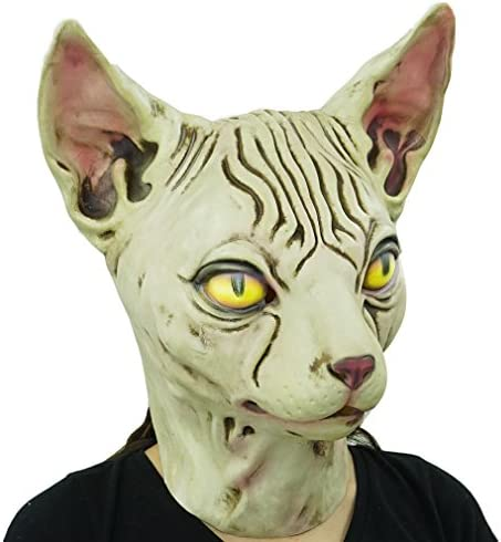 Hairless cat Latex Mask Funny Animal Hood Halloween Costume Party Decorations 17