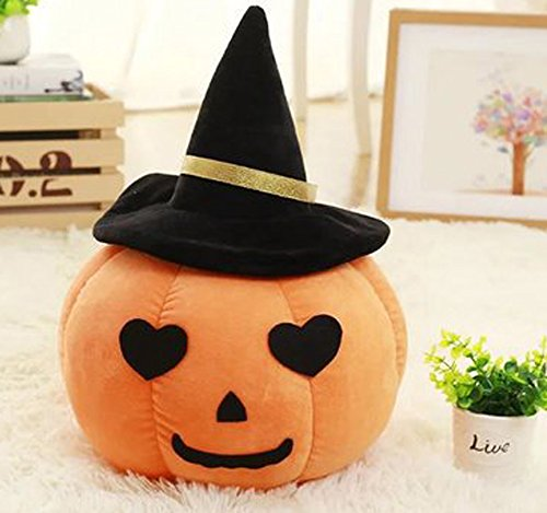 ChezMax Plush Decorative Round Throw Pillow for Home Sofa Stuffed Toys Back Cushion Doll for Kids Yellow Pumpkin with Black Hat Halloween -