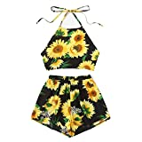 Mose Shorts for Women, Camisole Sunflower Print Suspenders Shorts Casual Two-Piece Beachwear V-Neck Crop Tops Mini Skirt Fashion New Dress (S, Black)