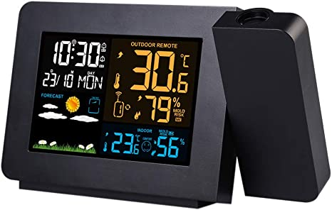 Digital LED Projektion Wecker Thermometer Snooze Hintergrundbeleuchtung P1Z6