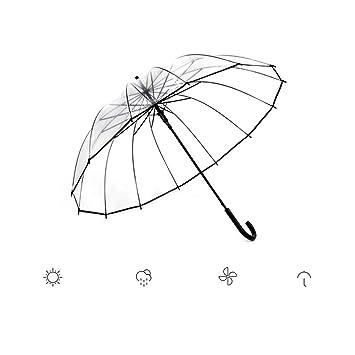 GZ Paraguas Transparente más Grueso Pareja Fresca de Mujeres Estudiante Paraguas de Lluvia Creativa para Hombre Mango Largo Automático,Negro: Amazon.es: ...