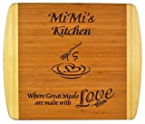 """MiMi Gift ~ """"MiMi's Kitchen Where Great Meals are made with Love"""" 2-Tone Bamboo Cutting Board w/Heart Middle Grandma Christmas Birthday Mothers Day Engraved Side Décor Back Side Usage (11.5x13.5)"""