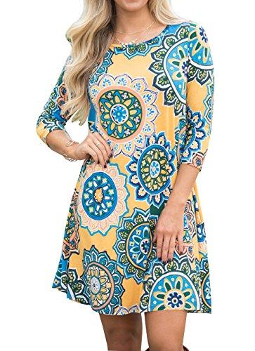 Robe D't Imprim Casual Shirt Floral des 4 Plage Jaune de Poches T Manches Femme avec 3 Courte Robes rq5pr