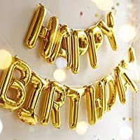 Outgeek Happy Birthday Balloons Banner ,Foil Balloons Letters Balloons Mylar Balloons for Birthday Party Decoration