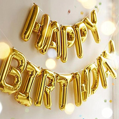 Happy Birthday Streamer (Outgeek Happy Birthday Balloons Banner ,Foil Balloons Letters Balloons Mylar Balloons for Birthday Party Decoration)