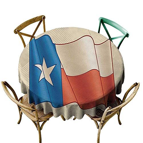 Wendell Joshua Party Tablecloth 54 inch Texas Star,Flapping Texan Flag Lone Star Pattern with Retro Effect Americana,Vermilion Beige Blue Great for Buffet Table, Parties, Holiday Dinner & More]()