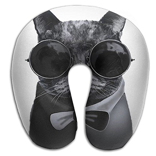 Creative Cool Cat With Glasses Design Comfortable U Shaped Neck Pillow Soft Neck Support Pattern Pillow For - Cool Uk Glasses