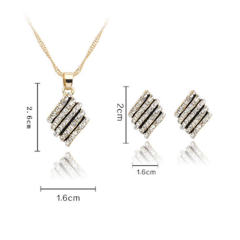 MYYQ Women Necklace Pendant,Two-Piece Set of Diamond Necklace Earrings Bride Wedding Alloy Set Jewelry Week Length 45cm