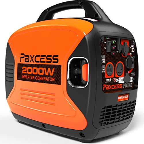 PAXCESS 2000 Watts Portable Inverter Super Quiet Gas Powered RV Generator with Eco-Mode, CARB Complaint, Parallel Ready 120V 30A 20A AC Outlet USB Ports 12V DC Output, P2000i