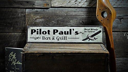 Amazon com: The Lizton Sign Shop Custom Aviation Pilot Flying Bar