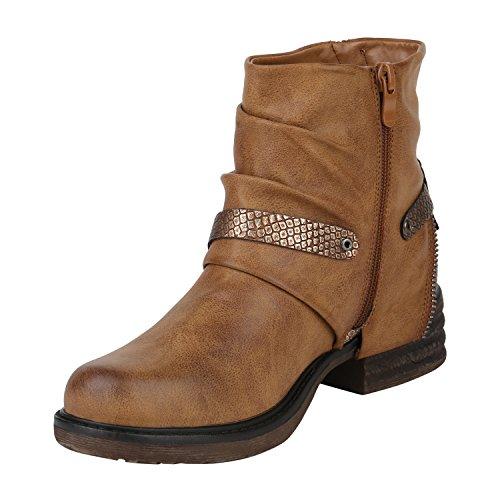 Stiefelparadies Damen Biker Boots Leder-Optik Stiefeletten Warm Gefütterte Booties Blockabsatz Winter Schuhe Winterboots Zipper Snake Print Flandell Hellbraun Bexhill