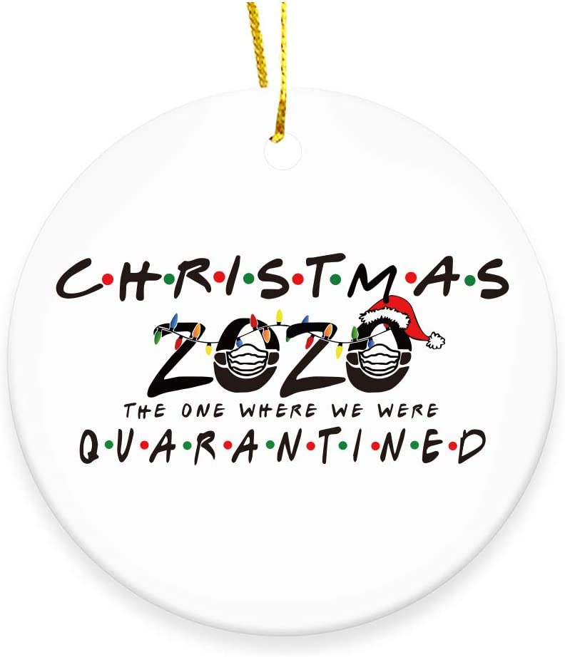GOCOLER Ceramic Double-Sided Design 2020 Christmas Tree Ornaments Quarantine Gift | Christmas 2020 The One Where We were Quarantined | Social Distancing Funny Novelty | Ceramic Holiday Decor