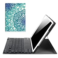 """Fintie iPad 9.7 Inch 2017 Keyboard Case - Slim Shell Stand Cover with Magnetically Detachable Wireless Bluetooth Keyboard for Apple iPad 9.7"""" 2017 Release Tablet, Emerald Illusions"""