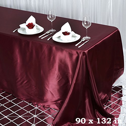 BalsaCircle 90x132 inch Burgundy Satin Rectangle Tablecloth Table Cover Linens Wedding Table Cloth Party Reception Events Kitchen Dining