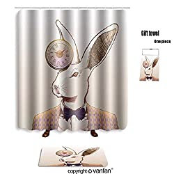 vanfan bath sets with Polyester rugs and shower curtain clock rabbit 123830035 shower curtains sets bathroom 72 x 108 inches&31.5 x 19.7 inches(Free 1 towel and 12 hooks)