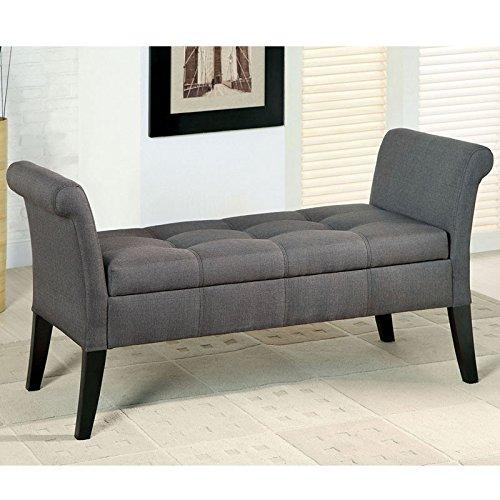Doheny Contemporary Style Gray Fabric Finish Bench