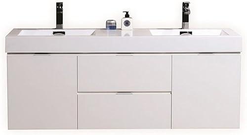 Kubebath Bliss 60″ Double Sink High Gloss White Wall Mount Floating Modern Bathroom Vanity