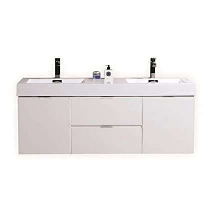 Bliss 60 High Gloss White Wall Mount Double Sink Modern Bathroom