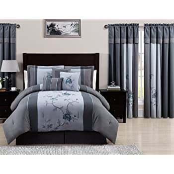 Amazoncom Chezmoi Collection Piece Embroidered Floral Bed In A - Blue and grey comforter sets