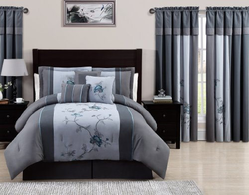 Chezmoi Collection 7-Piece Embroidered Floral Bed in a Bag Comforter Set Queen, Gray Blue (Gray Blue And Comforter)
