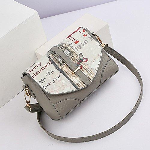Paquete de verano, las damas moda versión coreana de la onda de la bolsa de hombro, mochila oblicua, salvaje mini personalidad bolsa ( Color : Negro ) Gris