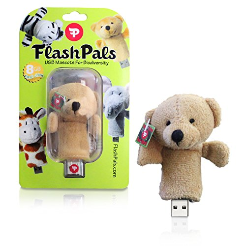 Bear Design Keychains - Cute, Plush Flash Drive Keychain by FlashPals | Lovable Teddy Bear Design + Light-Up Heart + 8GB USB Pen Drive | Useful Gift for Kids and Animal Lovers (Brown)