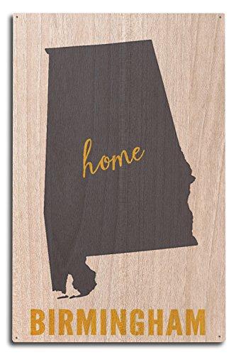 (Lantern Press Birmingham, Alabama - Home State - Gray on White (10x15 Wood Wall Sign, Wall Decor Ready to Hang))