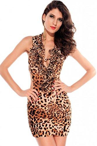 Smile YKK Mini Bodycon Sleeveless Dress Empire Halterneck Leopard Pleated Prom